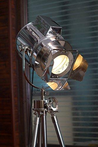 Huge Vintage Designs Sealight Adjustable Theater Searchlight Tripod Floor Lamp - Chrome Finish Industrial Nautical Floor Lamp