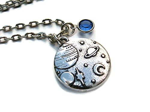 Personalized Galaxy Necklace, Outer Space Birthstone Necklace, Planet Pendant, Boho Jewelry, Astronomy Gift