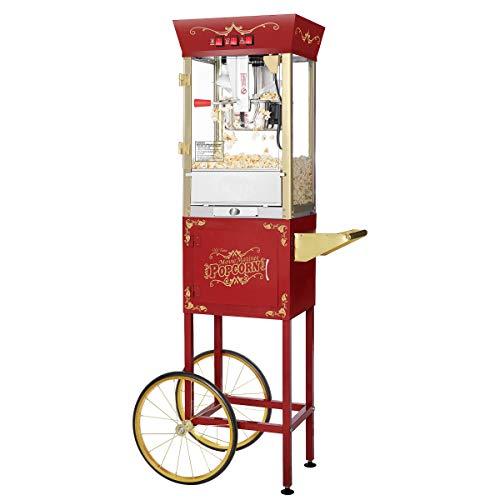 Great Northern Popcorn 969915UBY Matinee Popcorn Machine with Cart, 8oz, Red