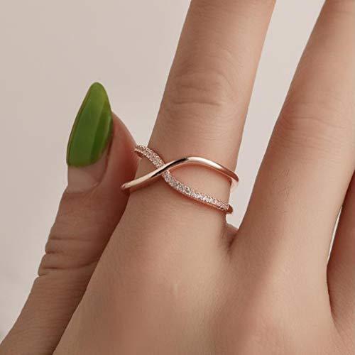 Yesiidor Criss Cross Ringe Unregelmäßige Geometrische Künstliche Zirkon Strass Kreative Mode Fingerring, Rose Gold