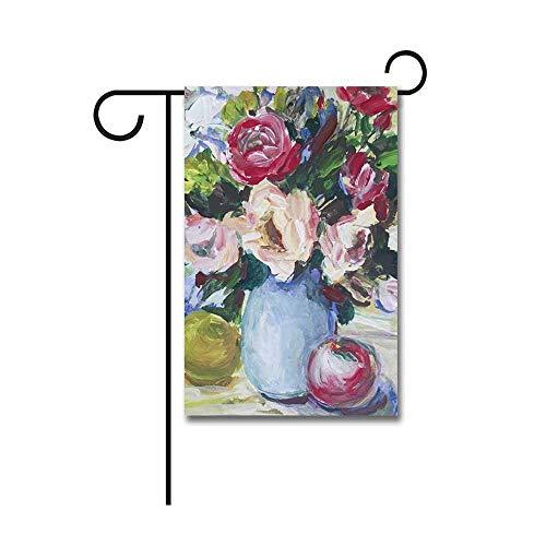 Decoratieve Vlaggen, Schilderij Verse Rozen in een Vaas en Appels op De Tafeltuin Vlag 30 X 45 CM