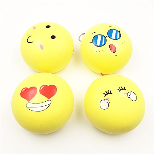 Drfoytg Mini Ball Toy Kid Slow Rising Stress Reliever Toy Smiley Face Squishy Toys Soft Scented Squeeze Toys (Yellow)