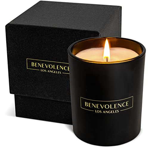 Premium Rose & Sandalwood Candle | Highly Scented Candles for Home | Rose Candle | 8 oz 45 Hour Burn, Fall Candles, All Natural Soy Candles, Aromatherapy Candle with Matte Black Glass Gift Box
