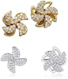 YTHOME Rotating Windmill Earrings, Fashion Crystal Windmill Earrings, Earrings for All Girls and Ladies, Stylish, Elegant and Exquisite Crystal Rotating Earrings Gold+Sliver