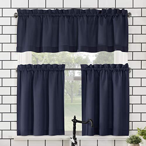 "No. 918 Martine Microfiber Semi-Sheer Rod Pocket Kitchen Curtain Valance and Tiers Set, 54"" x 24"" 3-Piece, Navy Blue"