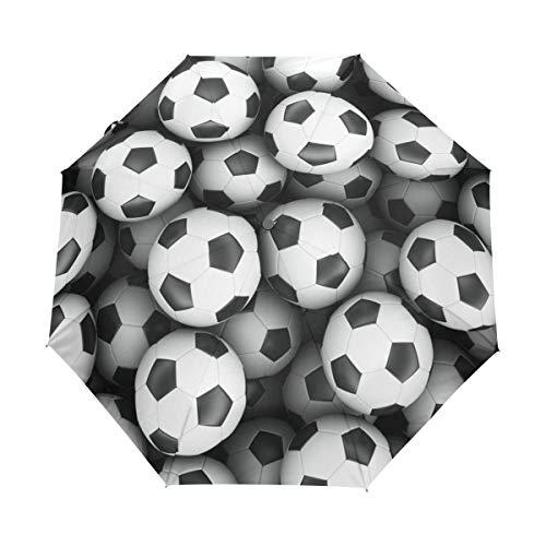 MyDaily Fußball-Reise-Regenschirm, automatisches Öffnen/Schließen, leicht, kompakt, Winddicht