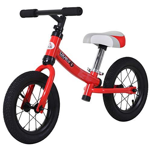 HOMCOM Bicicleta sin Pedales Sillín Regulable 31-45cm Recomendado para niños + 2 Años Rueda de Goma Carga 25kg 65x33x46cm Rojo