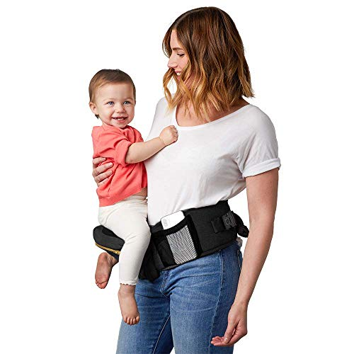Tushbaby The Only Safety Certified Hip Seat Baby Carrier - As Seen On Shark Tank, Ergonomic Waist Carrier for Newborns, Toddlers & Children, Black/Gold