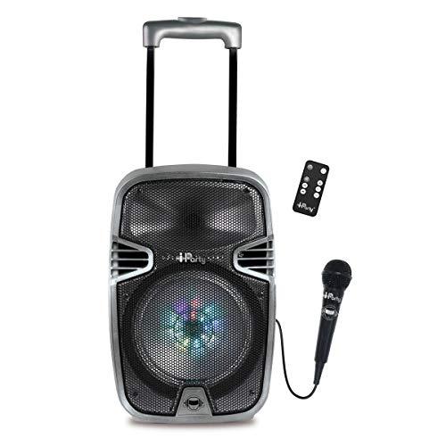 Lexibook Iparty -  Altavoz Luminoso Bluetooth con Asa y Ruedas,  Micrófono,  Puertos USB,  SD,  TF,  MMC y Aux- In,  Entrada Instrumento,  Mando a Distancia,  Batería Recargable (Lexibook K8250),  Gris