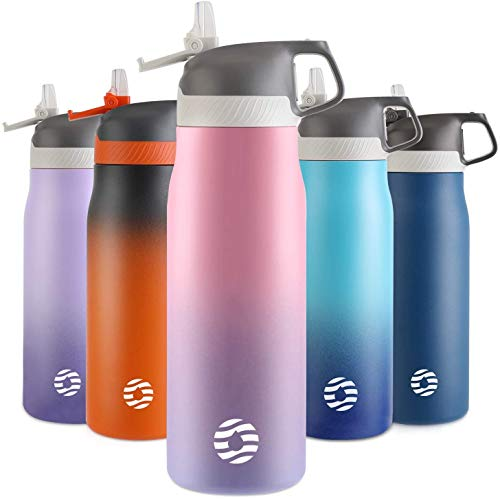 FJbottle Botella de Agua Acero Inoxidable 550ML/710ML, Botella Termica Reutilizable con Pajita, sin BPA, a prueba de fugas, para Bicicleta, Ciclismo, Gimnasio