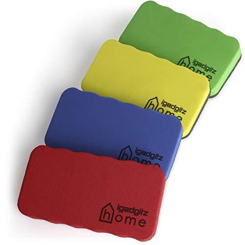 iGadgitz Home U6902 - Borrador Pizarra Blanca de Goma EVA y Fieltro (Paquete de 4) Borrador Magnetico para Limpia Rotuladores y Marcadorse - Colores: Verde, Amarillo, Rojo, Azul
