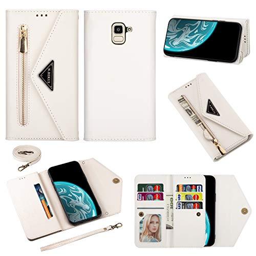 LODROC Coque Galaxy J6 2018 Coque,Housse en Cuir Premium Flip Case Portefeuille Etui avec Stand Support et Carte Slot pour Samsung Galaxy J6/J600F - LOCSJ0400235 Blanche