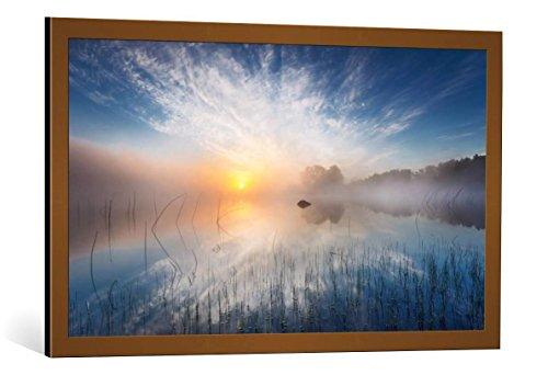 kunst für alle Bild mit Bilder-Rahmen: Martin Lutz Reflection - dekorativer Kunstdruck, hochwertig gerahmt, 95x55 cm, Kupfer gebürstet
