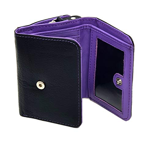 STARHIDE Ladies RFID Blocking Compact Genuine Leather Small Wallet With Zip Around Coin Pouch On The Side 5555 Black Purple