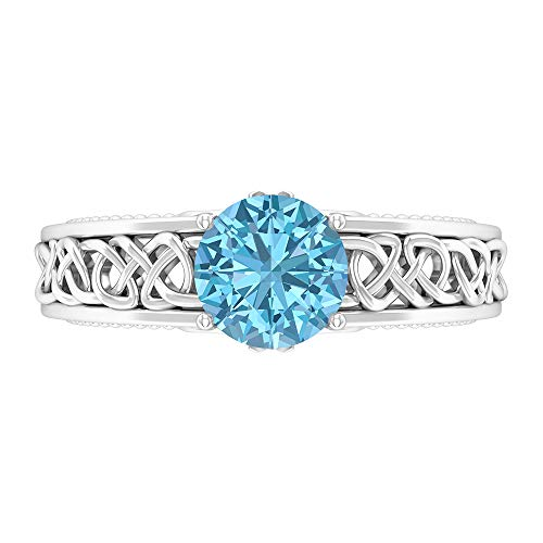 7 MM Solitaire Aquamarine Ring, Celtic Knot Engagement Ring, Solid Gold Wedding Band Ring, 14K White Gold, Size:US 11.0