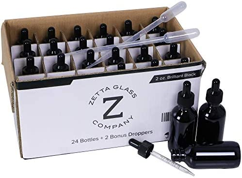 New Zetta Glass 24 Pack of Brilliant Black 2 oz 60 ml Glass Dropper Bottles for Essential Oils product image