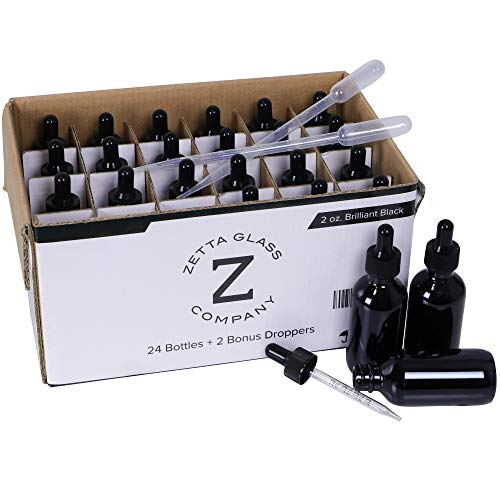 New! Zetta Glass 24 Pack of Brilliant Black 2 oz (60 ml) Glass Dropper Bottles for Essential Oils, Tinctures, Scents, Serums, Medicines and Your Custom Formulations