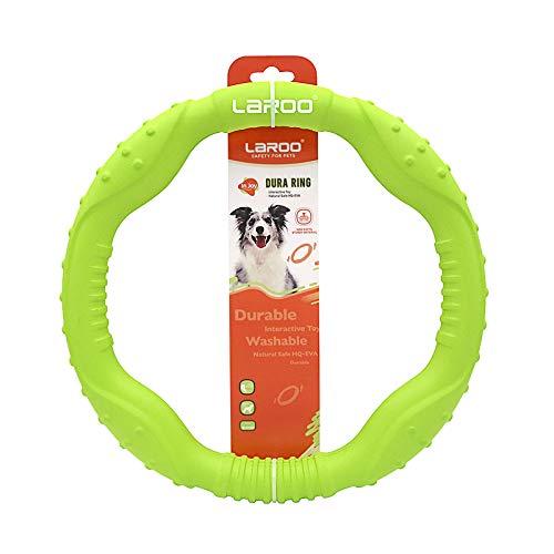 LaRoo Hundefitness-Ring Hundefrisbee, Unzerstörbare Float Hunde Flugscheibe Spielzeug, Sommer Pet Training für Mittelgroße und kleine Hunde (Groß-30CM / 11inch, Grün)