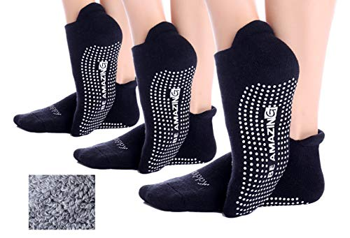 Non-Slip 3 Pairs Black Socks Yoga Barre Pilates Hospital Maternity Sock w/Grips For Women Men