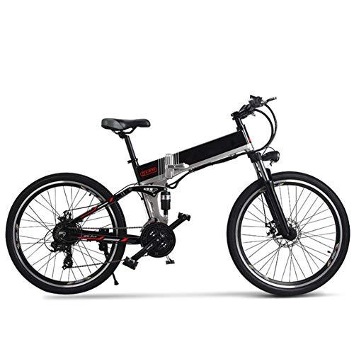 Bicicleta Eléctrica Montaña Plegable, 26 Pulgadas Bicicleta Eléctrica Conmutar para Adultos Que Viaja Estilo Opcional de Doble Batería Duración de la Batería de hasta 180 km,Negro,A