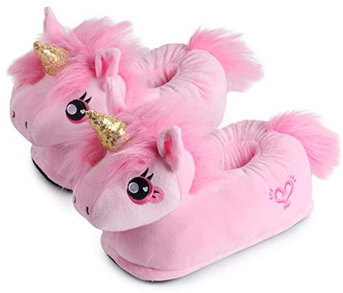 """corimori Süße Plüsch Hausschuhe (10+ Designs) Einhorn """"Rose"""" Slipper Einheitsgröße 34-44 Unisex Pantoffeln Rosa Pink Gold"""