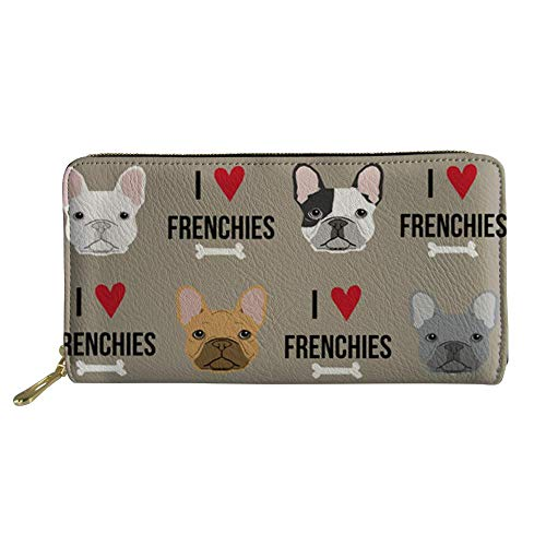 CLOHOMIN Waterproof PU Leather Long Wallet French Bulldog Face Travel Pouch Zipper Around Purse