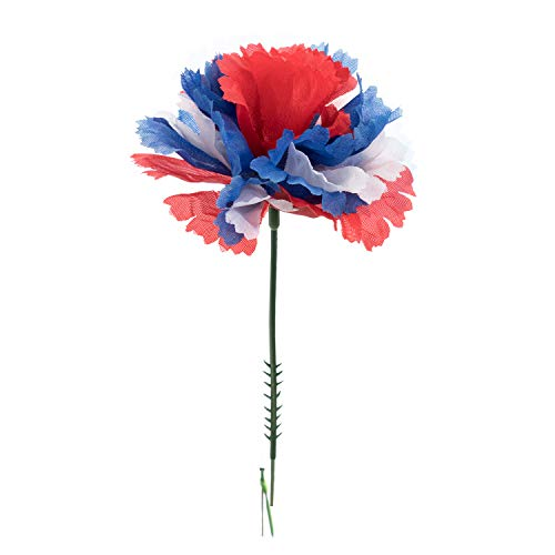 "Royal Imports 100 Red/White/Blue Flag Silk Carnations, Artificial Fake Flower Bouquets, Weddings, Cemetery, Crafts & Wreaths, 5"" Stem Pick (Bulk)"