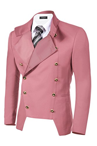 Mens Slim Fit Casual Double-Breasted Pink Jacket Blazer