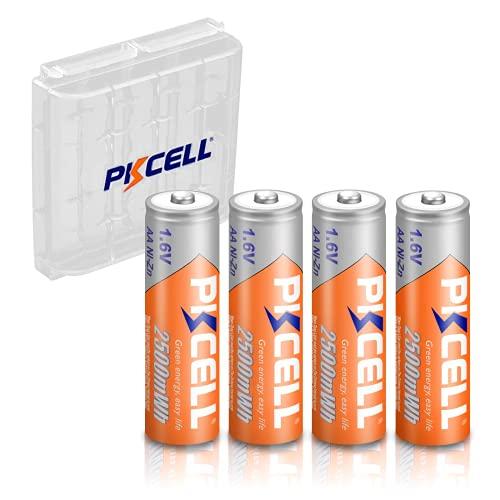 PKCELL - Confezione da 4 batterie ricaricabili al nichel-zinco, AA, 2500 mWh, 1,6 V, per fotocamera, custodia portabatterie inclusa