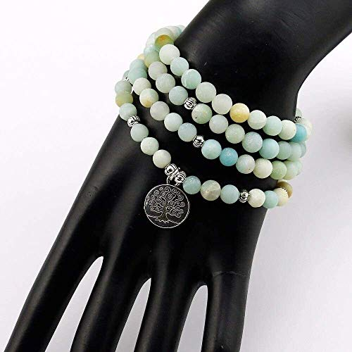 gujiu Wowwee Lucky Fortune Armband Mode Halskette 6mm Frosted Amazonite Armband Gebet Perlen Armband 108 Amazonite Mala Perlen Armband für Frauen Armband