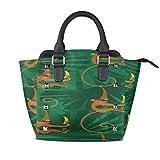 IUBBKI Bolsos de moda lindos que cuelgan monos naranjas en la selva Monederos con asa personalizada Remache de cuero de la pu Impresión de moda portátil Waterpr