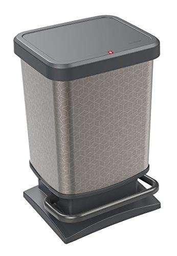 Rotho Paso Mülleimer 20l mit Pedal und Deckel, Kunststoff (PP) BPA-frei, silber hexagon, 20l (29,3 x 26,6 x 45,7 cm)
