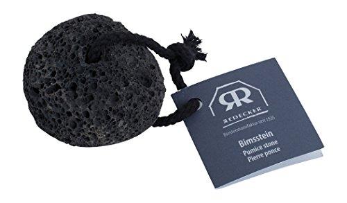 Redecker schwarzer Bimsstein Natur-Lavastein, mit Baumwollband
