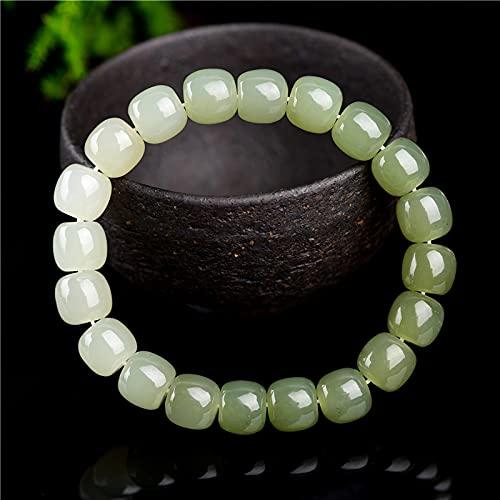 YUNHE Jade Verde Natural un arcoíris Pulsera de Piedras Preciosas Raras Cuentas Redondas elásticas 8X7MmHetian Jade para Mujeres Hombres joyería Aaaaa