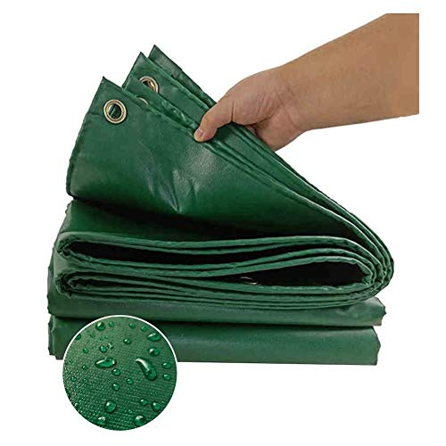 AGLZWY Multi-Purpose Rain & Waterproof Polyethylene Tarp, Tear Resistance Tarpaulin for Ground Sheet Camping Tent Cover With Eyelets, 21 Colors (Color : Green, Size : 10x12m)