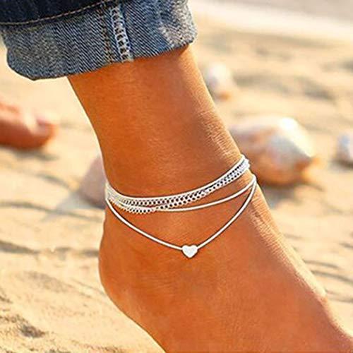 Jovono Boho Heart Anklets Bracelets de cheville multicouches Bracelets de plage pour femmes et filles (Argent)