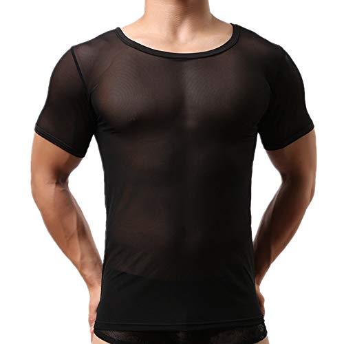 Morbuy Sexy T-Shirt Herren Unterwäsche Netzhemd Transparent Pyjamas Slim Fit Rundhalsausschnitt Kurze Ärmel (XL, Schwarz)