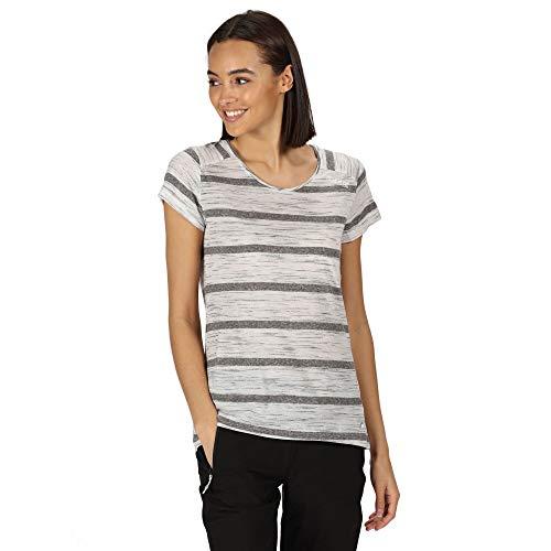 Regatta T- Shirt Technique rayé Manches Courtes Limonite IV léger et Respirant Polos/Vests Femme, Seal Grey, FR : 2XL (Taille Fabricant : 20)