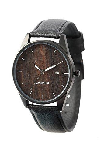 LAiMER 0077 - GABRIELE, Orologio analogico da polso al quarzo, legno Sandalo, con cinturino in pelle, unisex