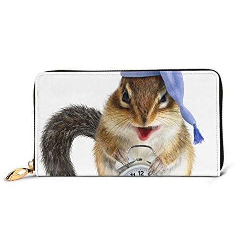 Ahdyr Fashion Handbag Zipper Wallet Risible Animal Chipmunk Reloj Gorra para Dormir Teléfono Embrague Monedero Tarde Embrague Bloqueo Leat