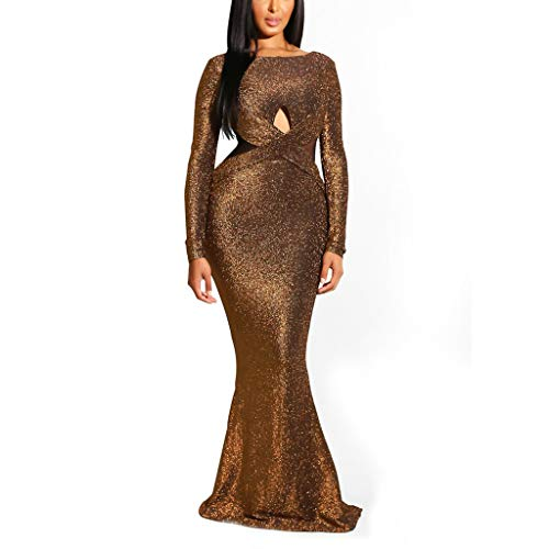 Women Long Sleeve Shiny Glitter Mesh Cut Out Bodycon Flowy Mermaid Party Maxi Long Dresses Backless Evening Dress
