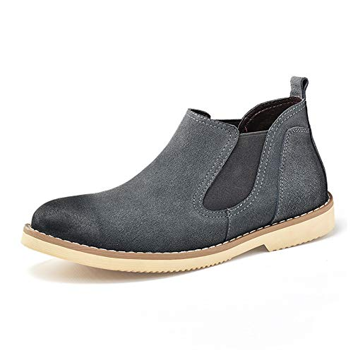 CAIFENG Hombres Chelsea Botas Ocasional clásico de Mitad de la Parte Superior británico Que restaura los Zapatos de Las Maneras Antiguas de Trabajo (Color : Gray, Size : 41 EU)