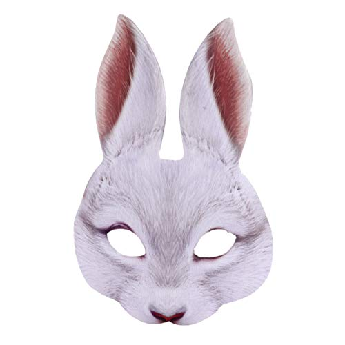 Amosfun Masque de Lapin Demi-Visage Carnaval de pâques Partie Costume de Lapin Masque Oreille pour fête du Parti (Blanc)