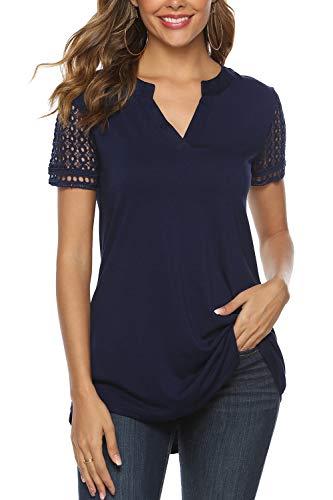 Zattcas Women's Summer V Neck Short Sleeve Tunic Shirt Business Casual Blouses for Women,Navy,Medium