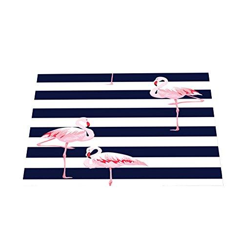 CAOLATOR antidérapant Absorbant Adiabatique Set de Table Tropical Style Flamingos Oiseau Peinture Coton épais en Lin Lavable Tapis de Table de Salle à Manger rectangulaire(32cm*42cm)