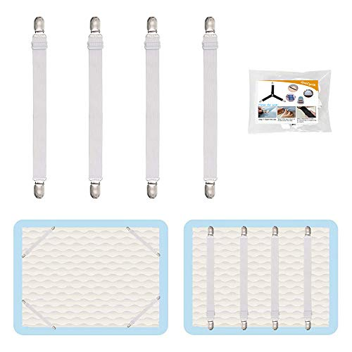 QoeCycth 4Pcs Adjustable Bed Sheet Straps Clips, Elastic Mattress Sheet Fasteners Holder and Suspenders, Grippers to Hold Sheet, Mattress, Sofa, Couch, Table Cloth, Ironing Board Cover and More