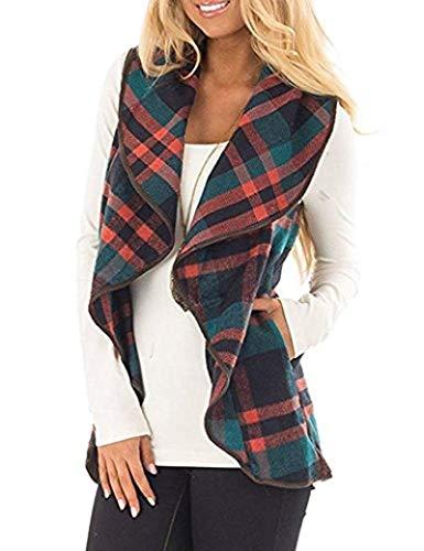 SheIn Women's Lapel Collar Coat Long Sleeve Plaid Blazer Outerwear Coffee X-Small