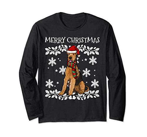 Merry Christmas Ornament Airedale Terrier Xmas Santa Long Sleeve T-Shirt
