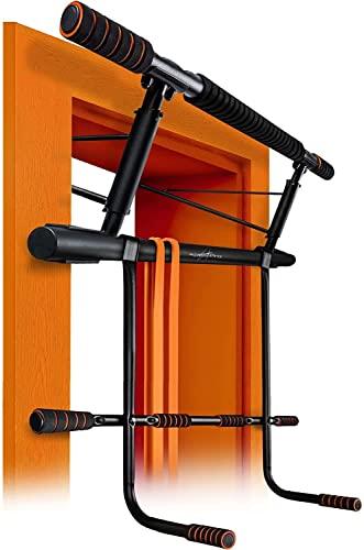 AthleticPro [Das Original - Klimmzugstange Türrahmen mit Dip Station– Belastbar bis 200KG – Sichere Pull up bar - 20 cm höher im Rahmen –Dips&Push Ups