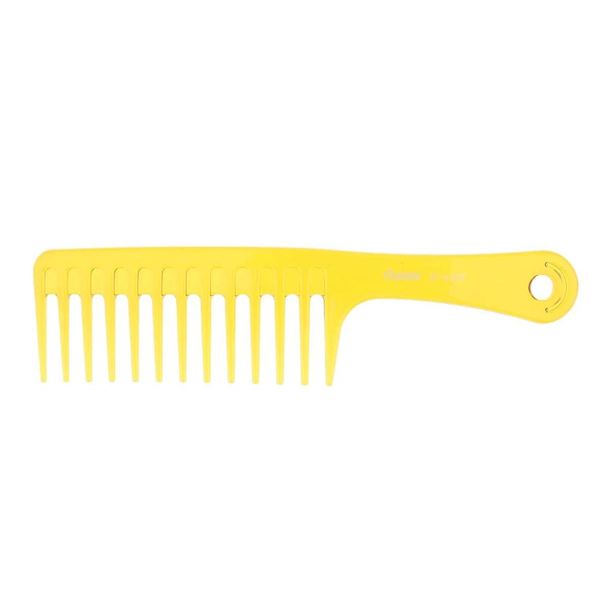 療法記念日間違いP Prettyia ヘアブラシ 帯電防止櫛 プラスチック製 ヘアコーム サロン用 自宅用 2色選べ - 黄